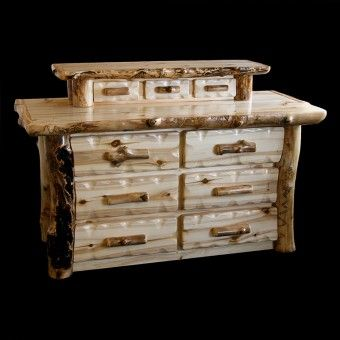 Aspen 6 Drawer Log Dresser With Jewelry Drawers | Rustic Log Furniture |  Cabin Decor