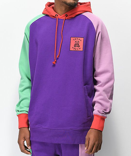 Teddy Fresh Colorblock Purple Hoodie