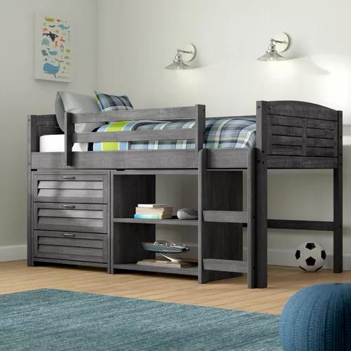 Evan Twin Low Loft Bed With Storage Low Loft Beds Bunk Beds