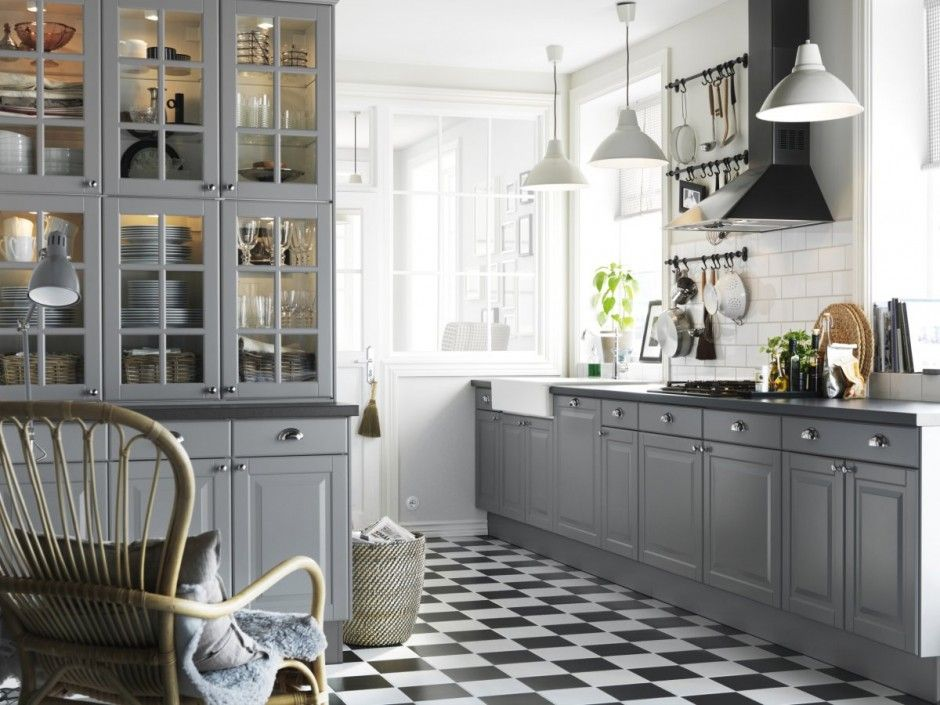 Enchanted Kitchen With Gray Cabinets Chess Board Floor Kitchen - Soft grey kitchen