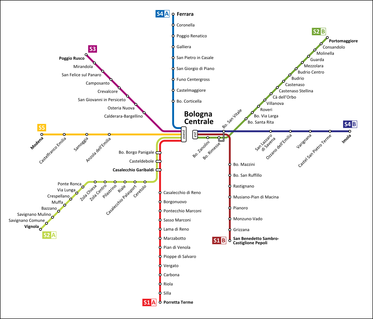 Sfm Subway Map.Map Sfm Bologna In 2019 Subway Maps Bologna Map Bologna Italy