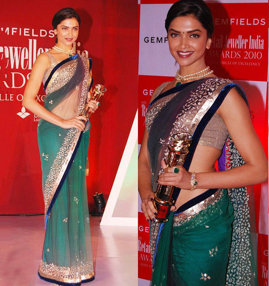 Deepika Padukone Net Green Embroidered Bollywood Designer ...