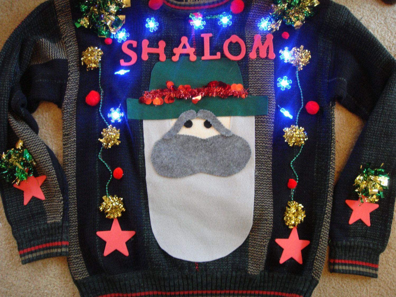 Men\'s small lights up ugly christmas sweater hanukkah shalom jewish ...
