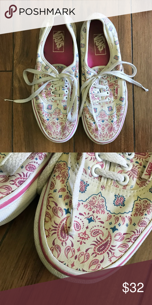 6a53443ba3e8c9 Paisley Vans Pink and blue design on white base. Very good condition. Feel  free to ask any questions or send an offer! Vans Shoes Sneakers