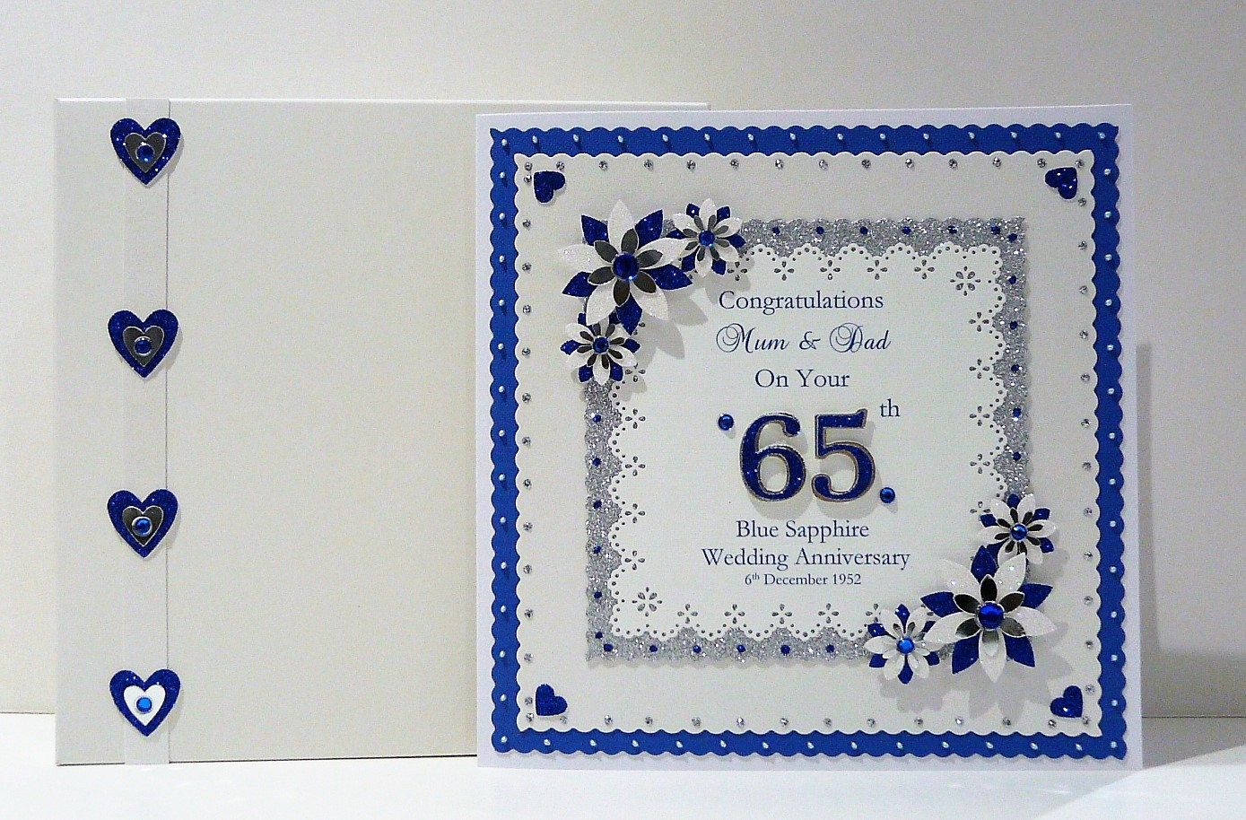 45th/65th Sapphire Wedding Anniversary Card with or without box Wife/Husband/Mum & Dad/Friends etc Customised Large Personalised