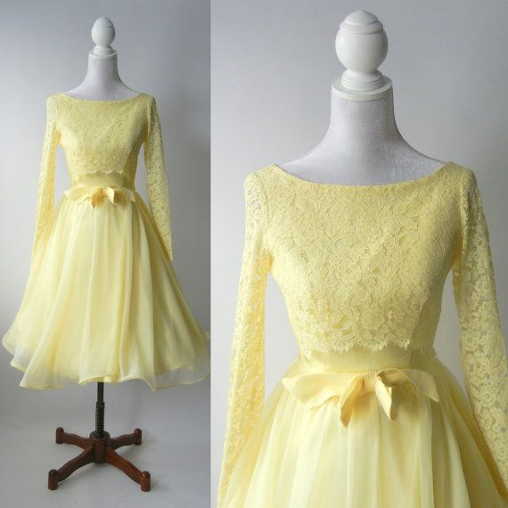 Vintage 1950s Yellow Dress, Retro 50s Yellow Lace Dress, 50s ...
