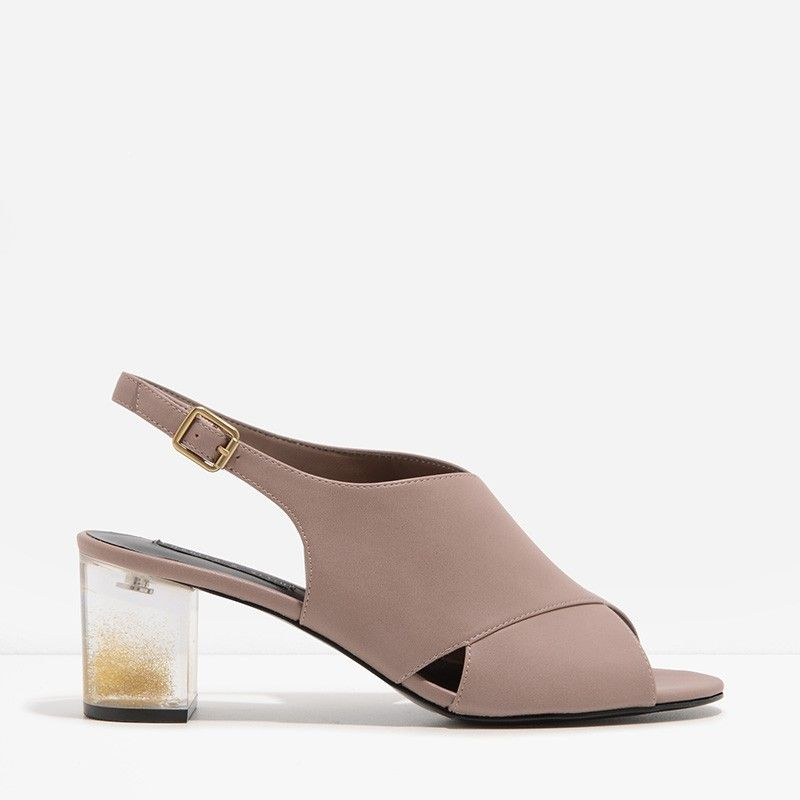 Taupe Cross-Strap Lucite Heel Sandals