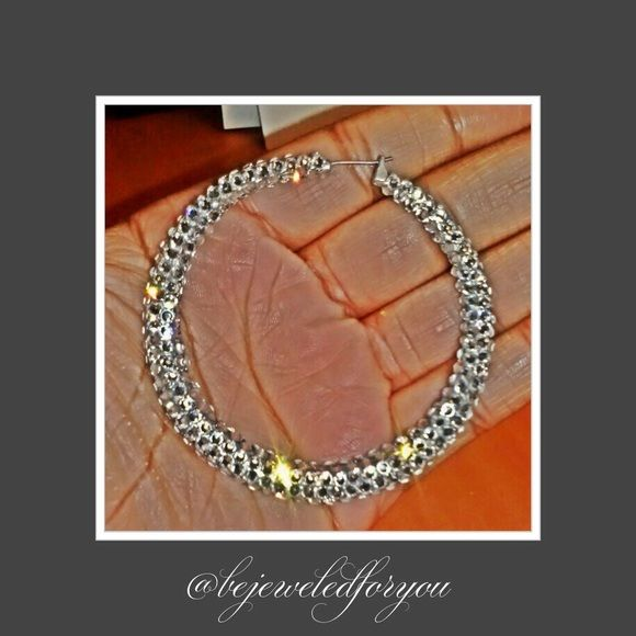 Medium Swarovski Crystal Clear Hoops Medium Swarovski Crystal Clear Hoops Jewelry