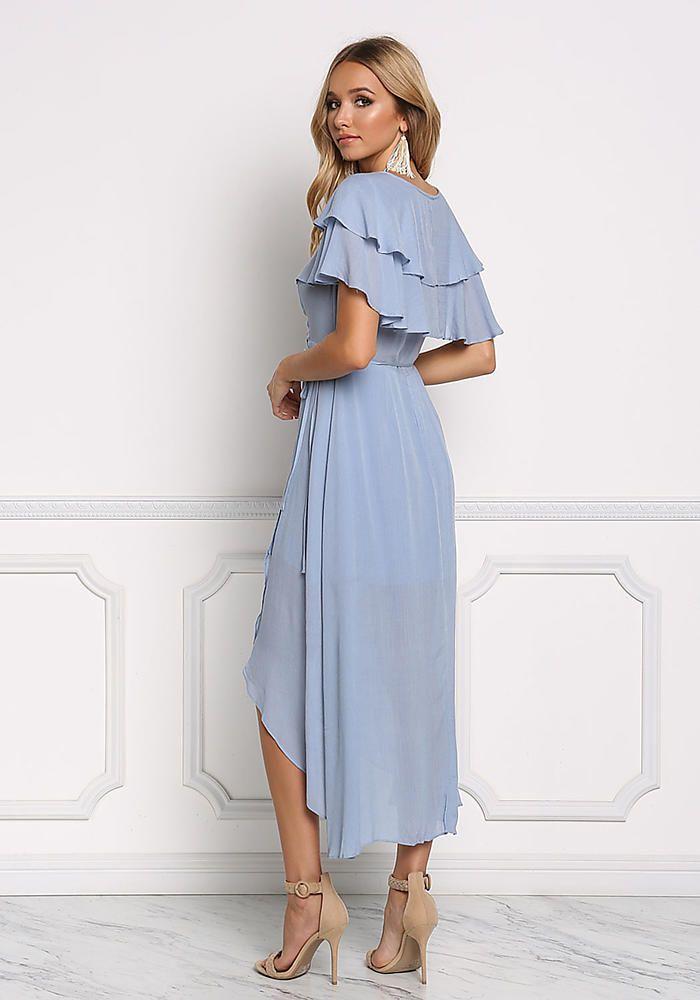 3411cac08fa Dusty Blue Ruffle Layered Wrap Maxi Dress - Day - Dresses