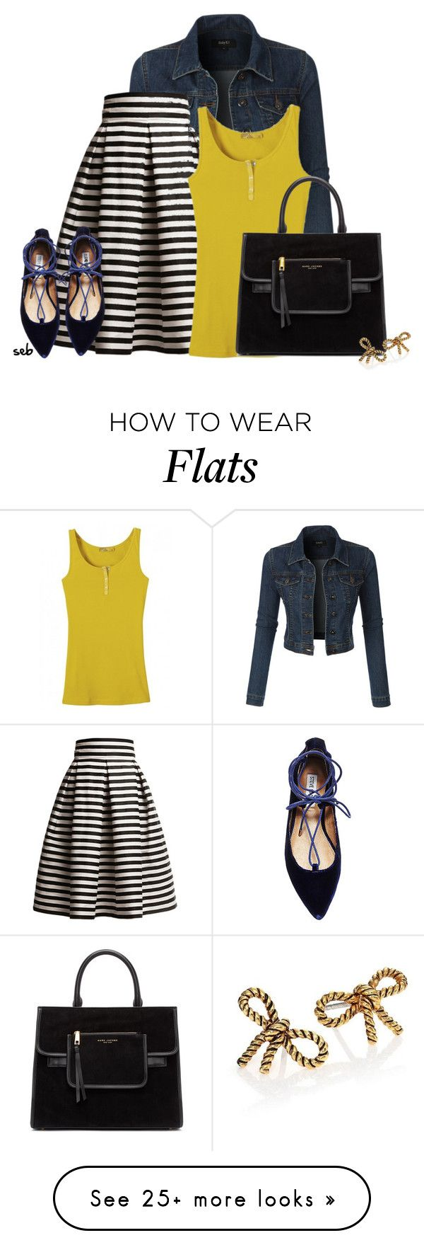 """""""Denim Jacket & Midi Skirt"""" by coombsie24 on Polyvore featuring LE3NO, Rumour London, Steve Madden and Marc Jacobs"""