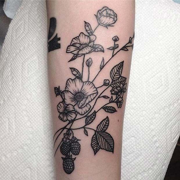 Beautiful Botanical Tattoos By Salem Witch Descendant: 23 Beautiful Flower Tattoo Ideas For Women
