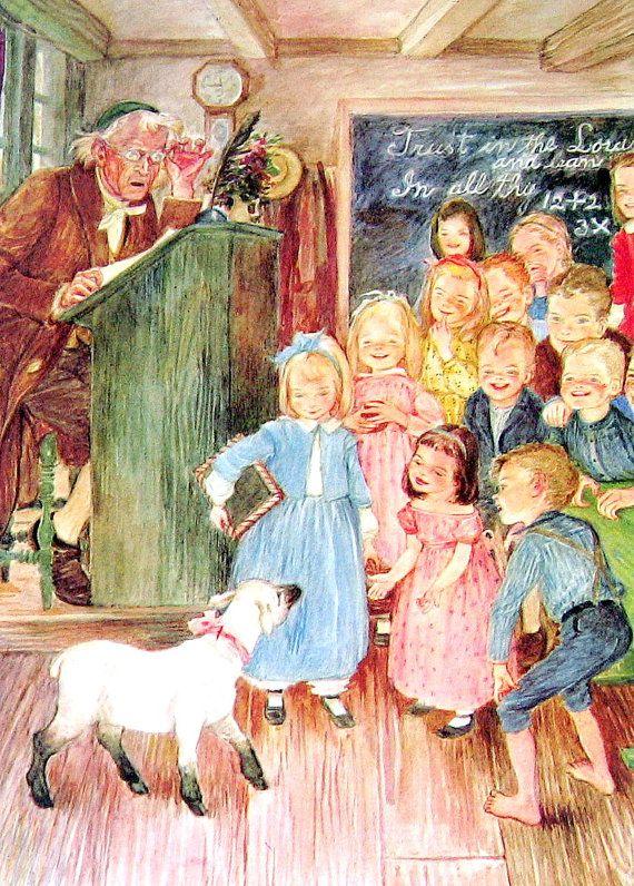 Mary Had A Little Lamb 1954 Mother Goose Por Mysunshinevintage 10 00