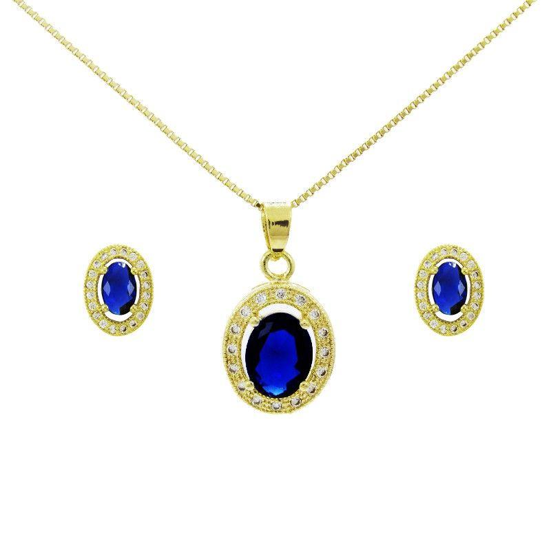 453845b9695 Conjunto com colar e brinco semijoia folheado a ouro 18k Pingente com  zircônia na cor azul Cravejado com pedras de zircônia  semijoias
