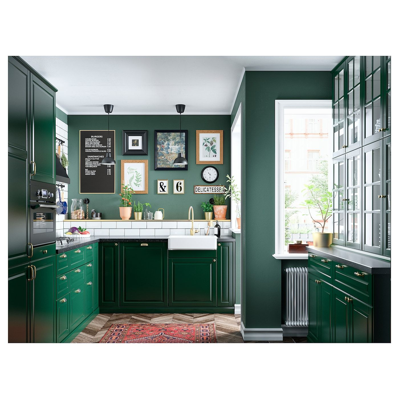 Saljan Countertop Black Mineral Effect Laminate 98x1 1 2 Ikea In 2020 Ikea Bodbyn Kitchen Dark Green Kitchen Green Kitchen Cabinets