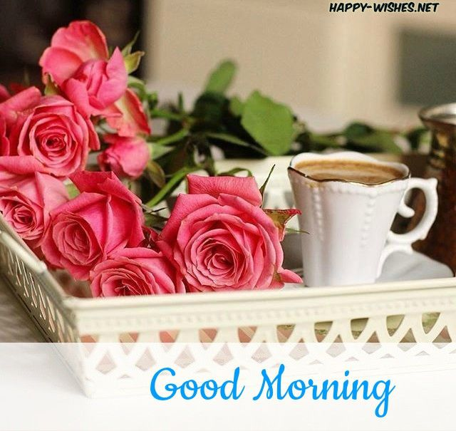 Good Morning Wishes With Rose And Tea Cup Pictures Flowers Good