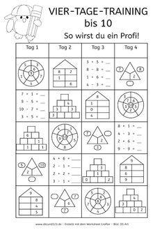 Vier-Tage-Mathe-Training (Zahlenraum bis 10) - | Pinterest | Maths ...