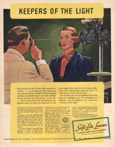 Optometrist and Phoropter in 1937 print ad for Soft Lite Lenses Oculist Optician eye exam glasses