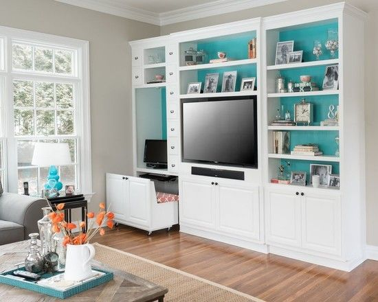 Living Room Pretty Living Room Design With White Wall Cabinet And Shelves With Soft Blue Backsplash Cabinet Plus Tv Unit Also White Pull Out C Schreibtisch Bauen