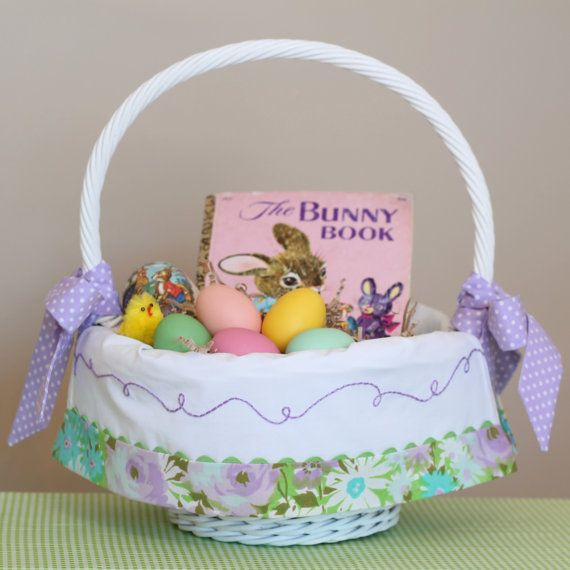 Vintage Linen Easter Basket Liner Personalized, fits Pottery Barn Sabrina baskets, by tadacreations on Etsy