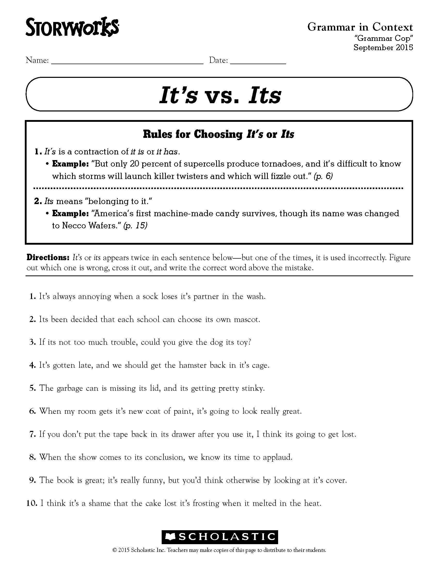 Third Grade Grammar Worksheet Grammar In