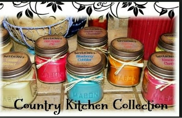 Our country kitchen collection  #masonjar #candle #soy #blueberrycobbler #hotapplepie #almondcherry # vanilla extract   http://mysoylscents.com/ID/Kaelynnandkynslimommy/