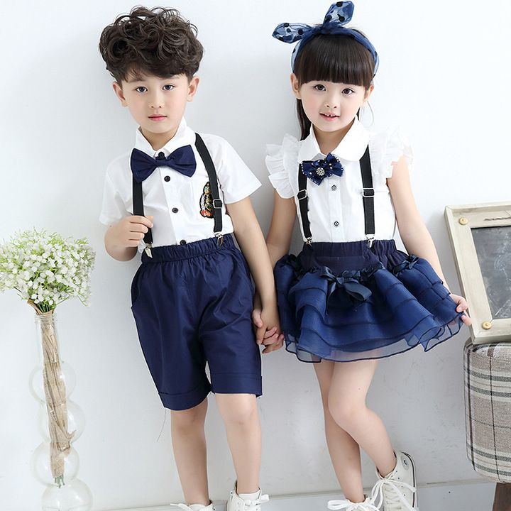ac9e4d8be1 Children costumes models short-sleeved overalls Students chorus clothing  School uniforms Stage performance clothing
