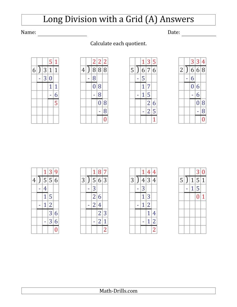 The 3 Digit By 1 Digit Long Division With Remainders With Grid Assistance And Prompts A Math Worksheet Page 2 Math Drills Kids Math Worksheets Long Division Number chart worksheets long division