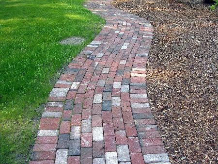 Multi-colored brick walkway