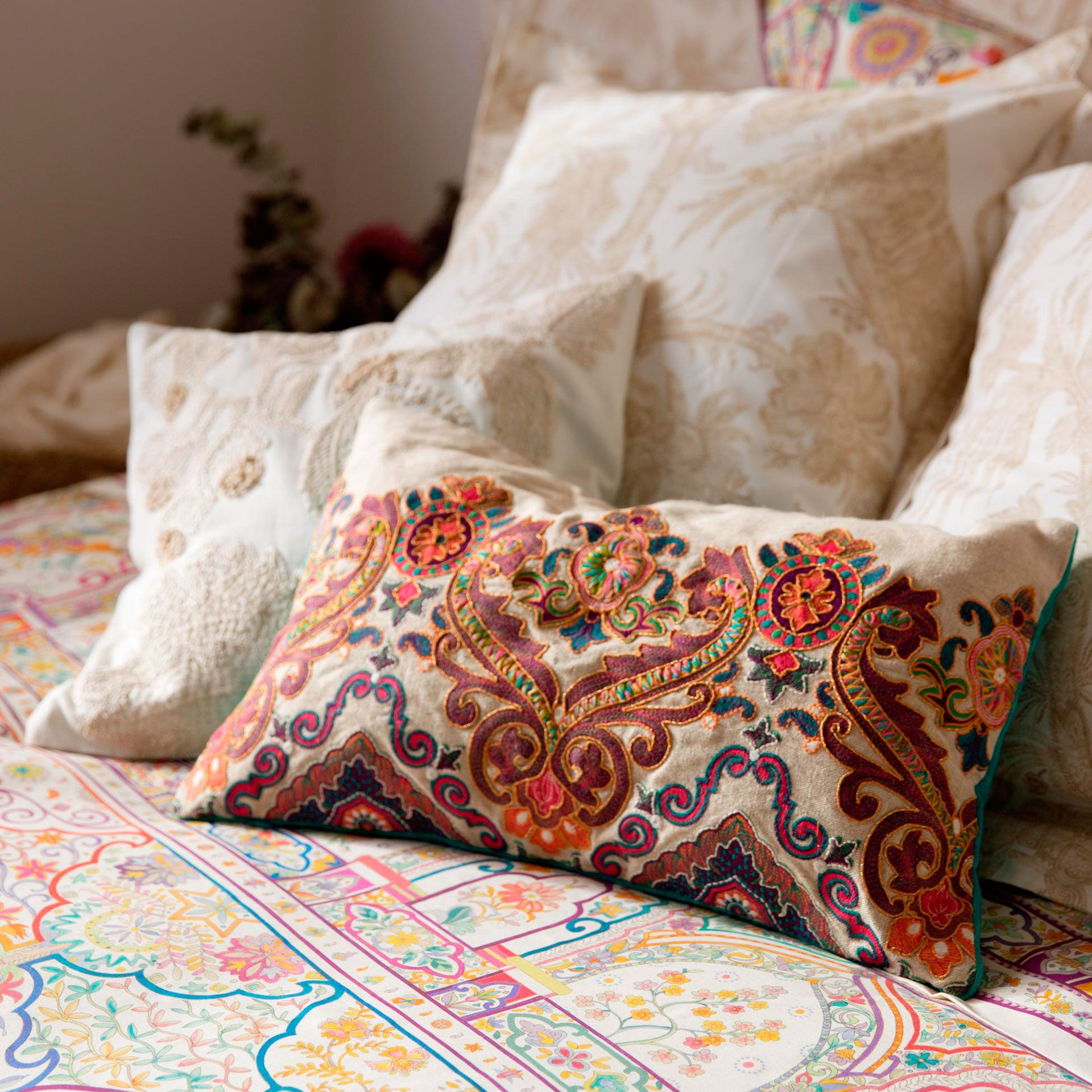 EMBROIDERED CUSHION   Decorative Pillows   Decoration | Zara Home United  States Of America