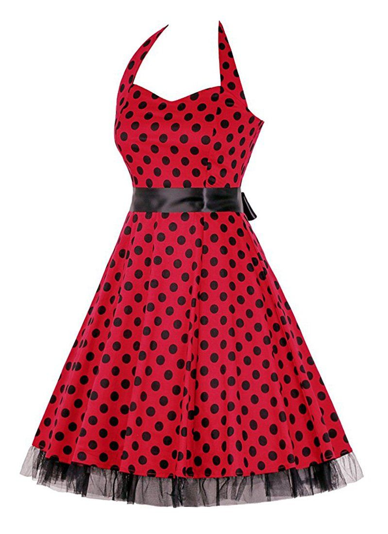 d3eea28446a Killreal Womens Vintage 1950s Rockabilly Polka Dot Holiday Cocktail Dress  for Christmas Red Black XLarge