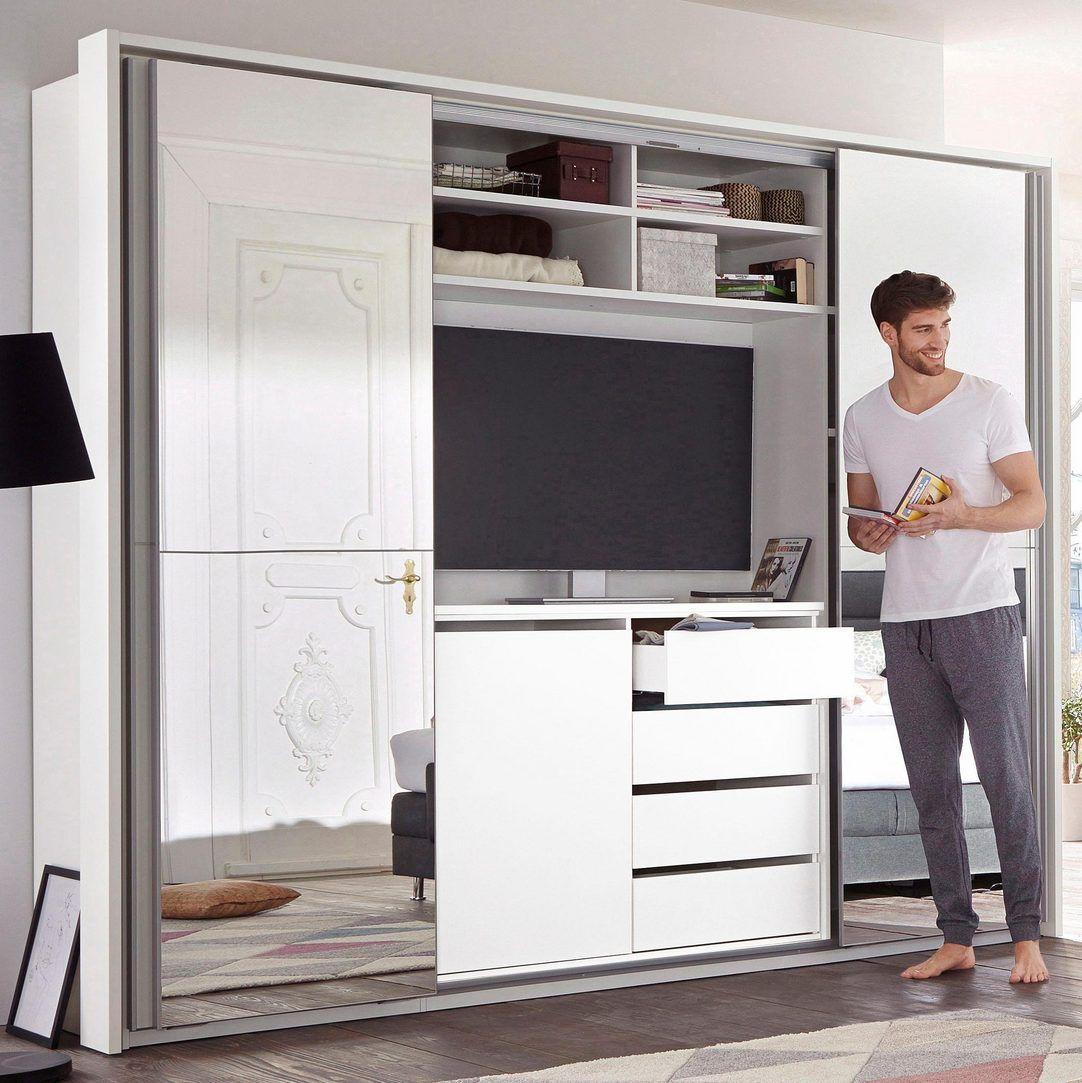 Schwebeturenschrank Mit Tv Fach Und Spiegel Schwebeturenschrank Kleiderschrank Mit Tv Schlafzimmer Schrank