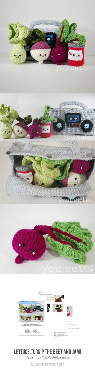 Lettuce, Turnip, the Beet and Jam! amigurumi pattern by You Cute ...