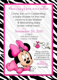 Baby Minnie Mouse Baby Shower Invitations Use Some Foxy Accessories And  Make Your Own Baby Shower