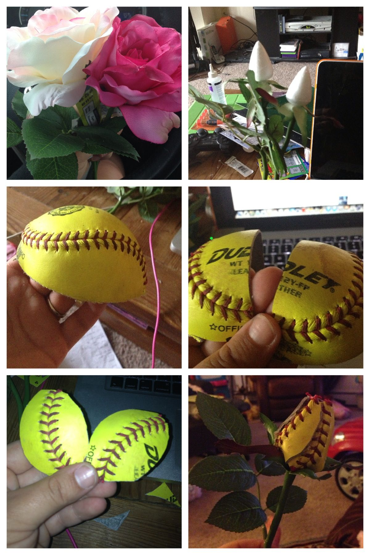 How To Make A Softball Rose!!! I Need To Do This In The