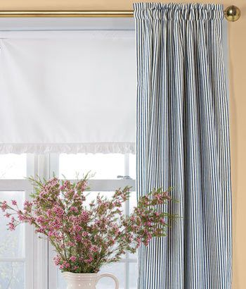 Striped Curtains Plaid Checked Blue Country