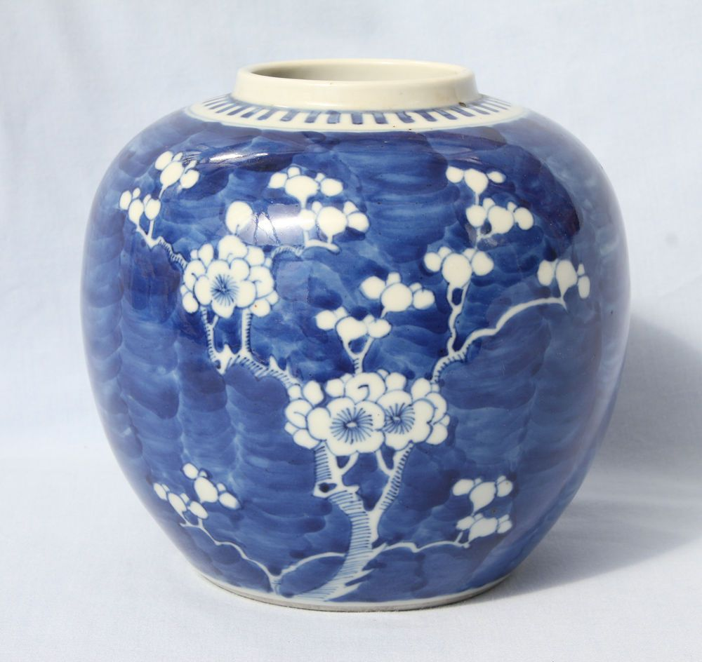 Large antique chinese blue white porcelain prunus ginger jar large antique chinese blue white porcelain prunus ginger jar kangxi mark reviewsmspy