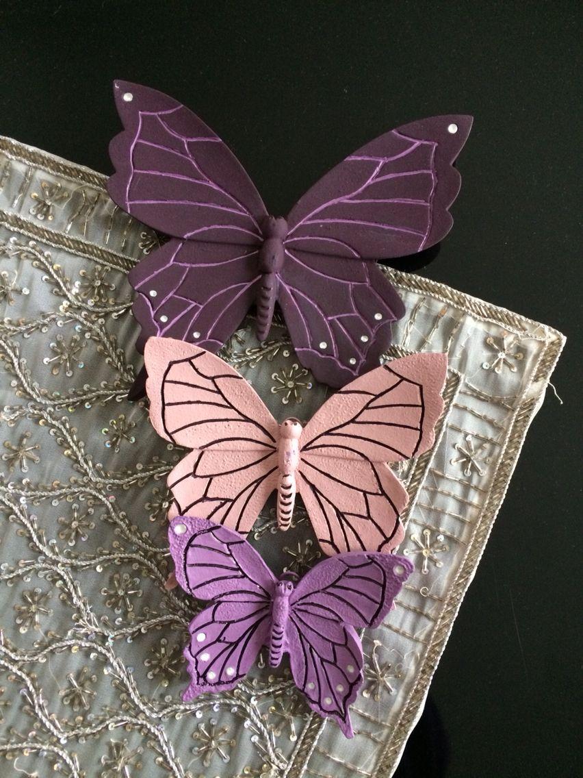 Polyester Boyama Kelebekler Antik Tasarim Dekor Yaratici El