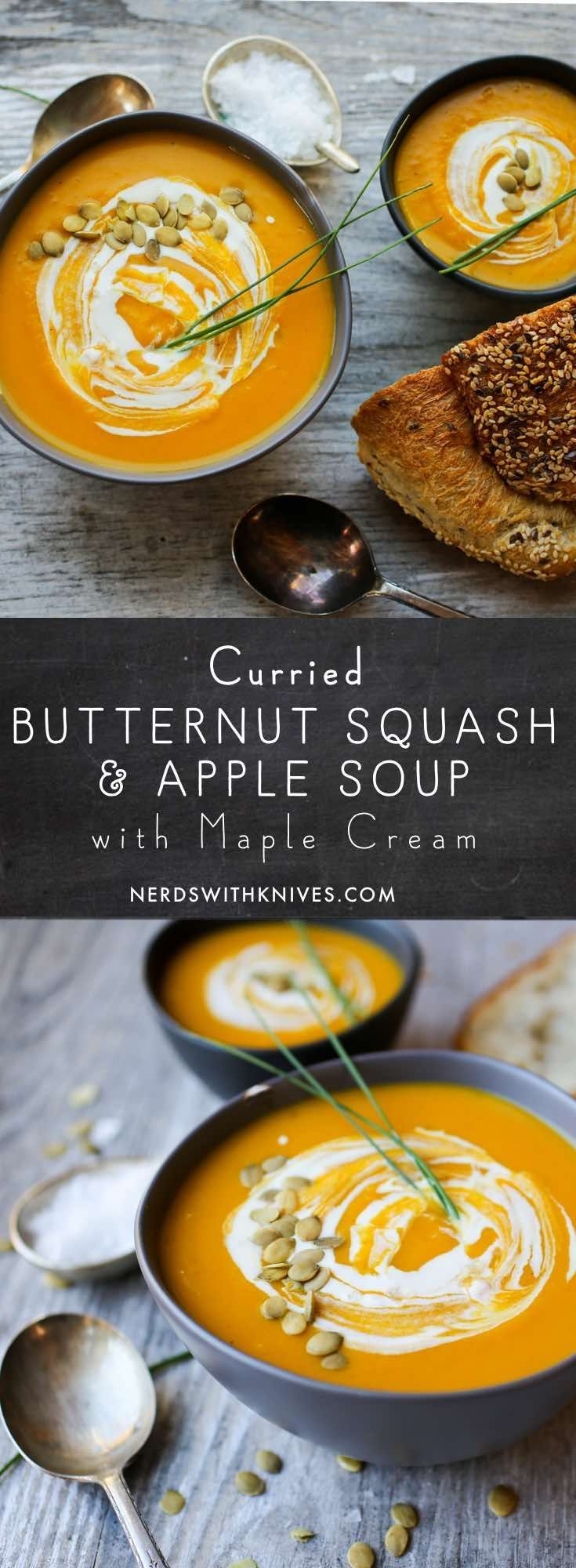 Curried Butternut Squash and Apple Soup with Maple Cream - Nerds with Knives