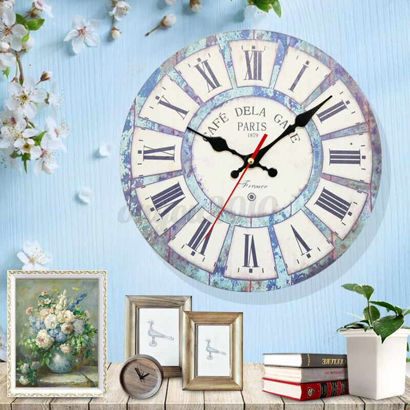 Details About 12 Wall Clock Vintage Style Wooden Roman Numeral Home Bed Room Battery Q In 2020 Wall Clock Vintage Style Vintage Wall Clock Wall Clock