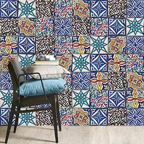 Sticker Fliesen Mosaik   CREATISTO Fliesenaufkleber Bad Fliesensticker |  Fliesen Folie Selbstklebend   Bad Deko