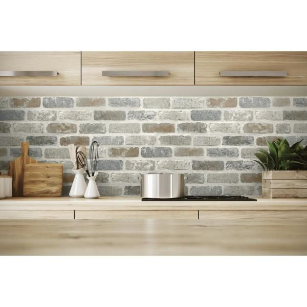 Nextwall Washed Faux Brick Vinyl Peelable Wallpaper Covers 30 75 Sq Ft Nw30500 The Home Depot In 2020 Faux Brick Backsplash Faux Brick Brick Backsplash Kitchen