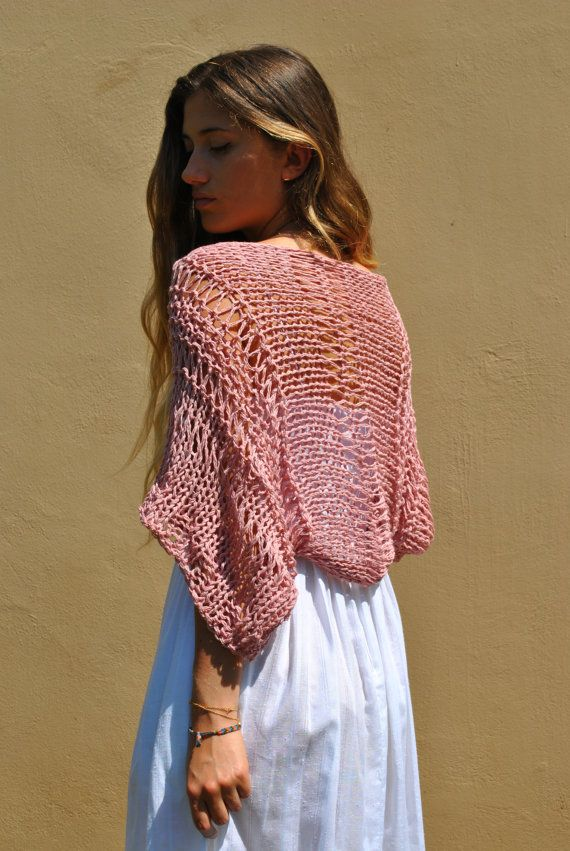 Dusty rose loose weave shrug, handmade cropped sweater, hand knit ...