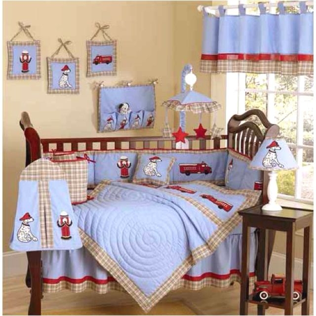 Charming Frankieu0027s Firetruck 9 Piece Baby Crib Bedding Set By Sweet Jojo Designs