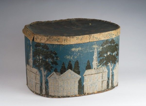 """Chapel and Buildings"" wallpaper covered hat box, 1845"