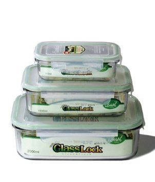 Amazon.com: Kinetic GlassLock Series 1317 Rectangular Glass Food Storage  Containers With Locking