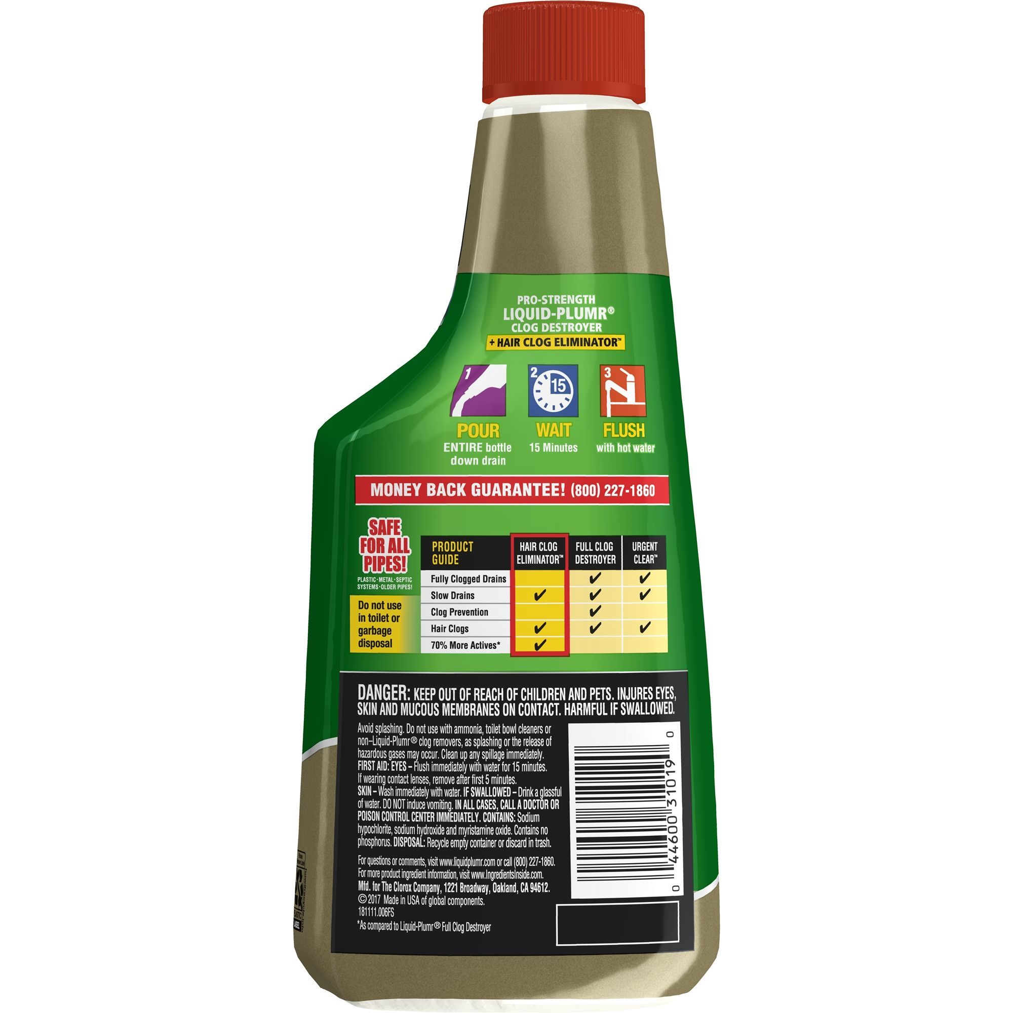 Liquid Plumr Hair Clog Eliminator Removes Tough Hair Clogs 16 Oz
