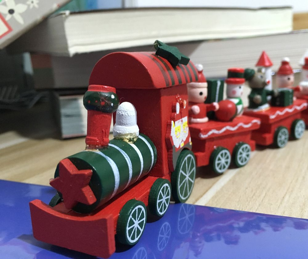 2016 christmas painted wood train christmas decoration for home with santabear xmas kid toys