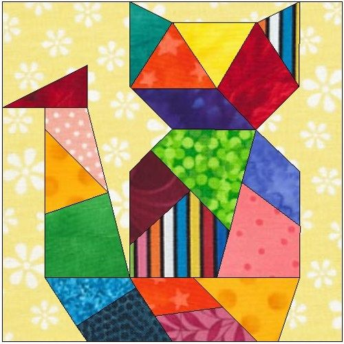 photo regarding Free Printable Cat Quilt Patterns named All sches - mad cat paper peicing quilt block habit