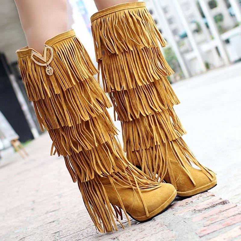 Wysoki Obcas Kozaki Kowbojki Na Platformie Z Fredzlami Knee High Boots Winter Knee High Boots Womens Knee High Boots
