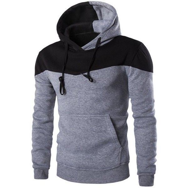 IZZUMI Classic Color Block Front Pocket Hooded Long Sleeves Hoodie For...  (35